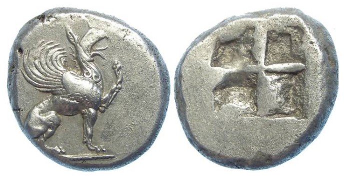 Ancient Coins - Teos in Ionia. ca. 510 to 500 BC. Silver stater.