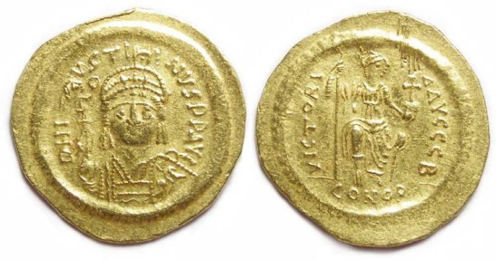 Ancient Coins - Byzantine. Justin II. AD 565 to 578. Gold solidus.