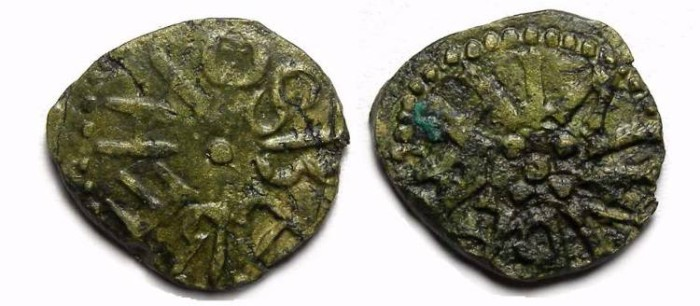 Ancient Coins - English. Kingdom of Northumbria. Osberht, AD 849 to 867. Copper Stycas.
