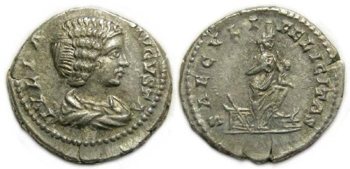 Ancient Coins - Julia Domna, AD 193 to 217. Silver denarius.