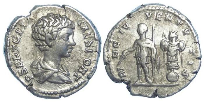 Ancient Coins - Geta as Caesar, AD 198 to 209. Silver denarius