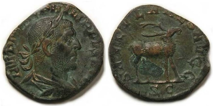 Ancient Coins - Philip I, AD 244 to 249. Bronze sestertius - 1000 th anniversary series.