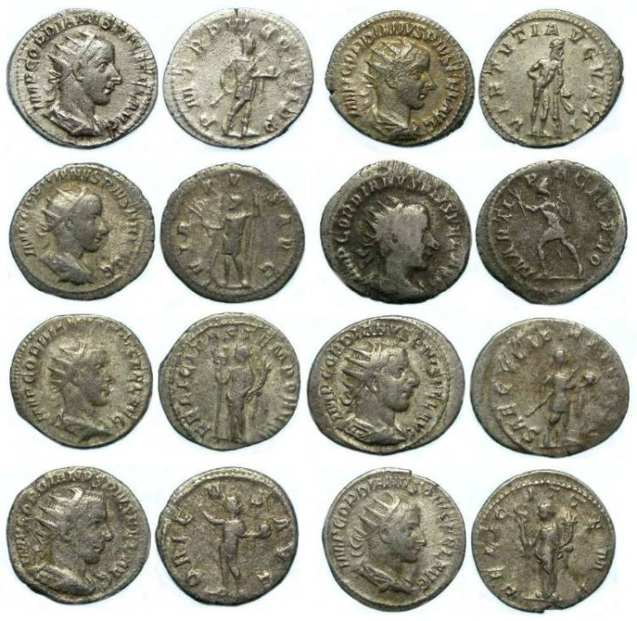 Ancient Coins - Gordian III, AD 238-244. Silver Antoninianii. Dealer lot of 8 coins.