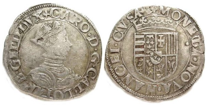 Ancient Coins - French Feudal. Nancy in Lorraine. Charles III, 1545 to 1608. Silver teston.