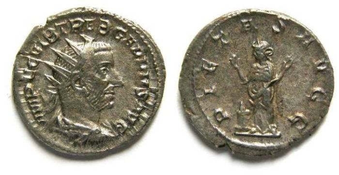 Ancient Coins - Trebonianus Gallus, AD 251-253. Silver antoninianus