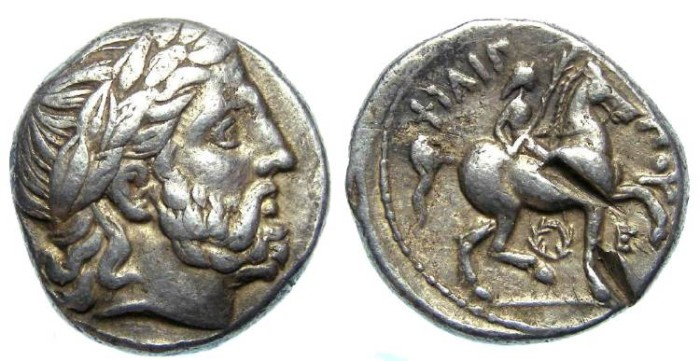 Ancient Coins - Macedonian Kingdom, Philip II, 359 to 336 BC. Silver tetradrachm.