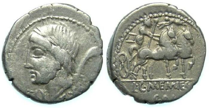 Ancient Coins - Roman Republic. L & C Memmius L.f. Galeria. Silver denarius. ca. 87 BC.