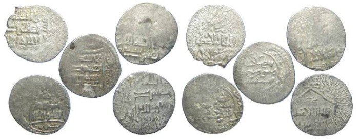 Ancient Coins - LOT OF 5 COINS. Islamic. Mongols in Persia, Ilkhan. Togha Timur, AD 1330 to 1340. Silver triple Dirhem.