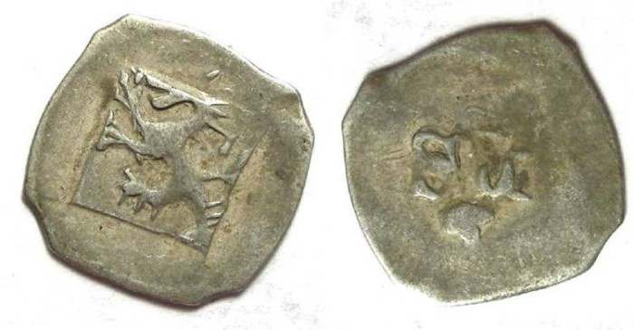 Ancient Coins - Germany, Bavaria-Ingolstadt.  Stephen III and Ludwig VII, AD 1402 to 1413. Silver pfennig.
