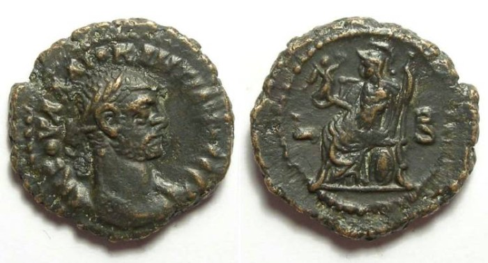 Ancient Coins - Alexandria, Diocletian, AD 284 to 305, Yr-2 potin tetradrachm. 17 mm.