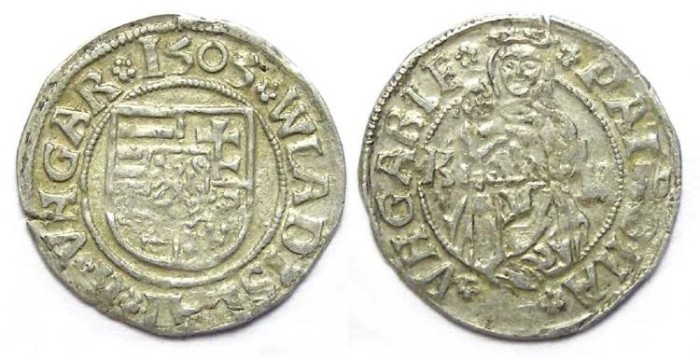 Ancient Coins - Hungary. Wladislaus II. 1490 to 1516. Silver denar. Dated 1505