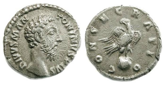Ancient Coins - Divus Marcus Aurelius, AD 180, Silver denarius.