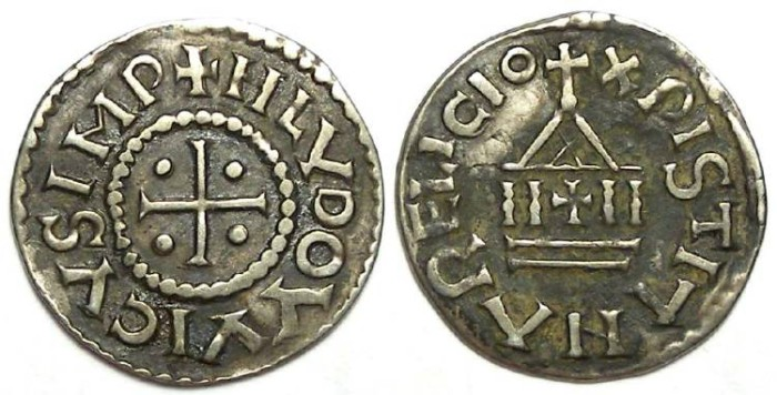 Ancient Coins - Carolingian, Louis the Pious. AD 814 to 840. Silver denier.