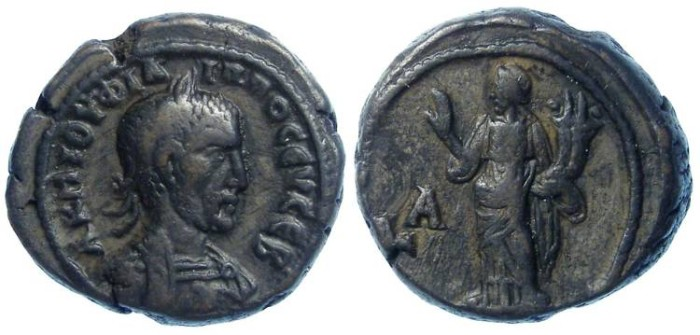Ancient Coins - Philip I, AD 244 to 249. Alexandrian Billon tetradrachm