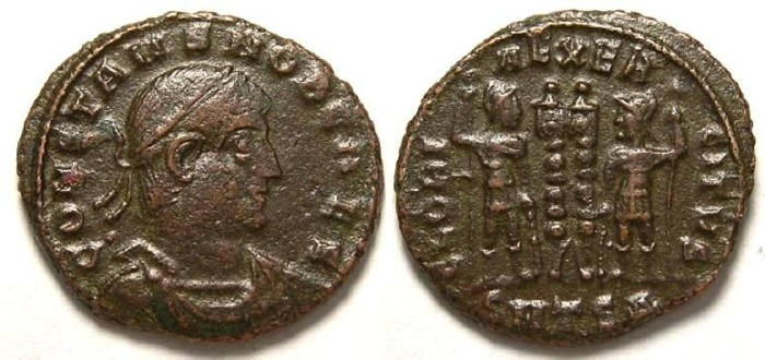 Ancient Coins - Constans, as Caesar.  AD 333 to 337. AE 3.