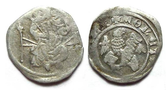 Ancient Coins - Hungary. Karl Robert, AD 1308 to 1342. Silver Denar.
