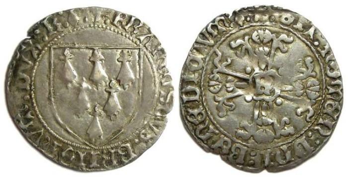 Ancient Coins - French Feudal. Bretagne. Francois II,  AD 1458-1488. Silver Gros a l'ecu.