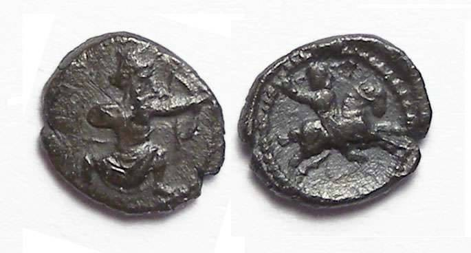 Ancient Coins - Samaria. ca. 375 to 333 BC. Silver 1/2 to 1/3 obol.  Copies a Persian tetradrachm.