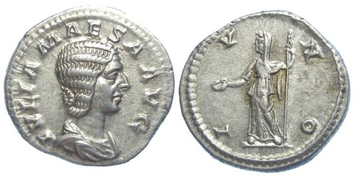 Ancient Coins - Julia Maesa, AD 218 to 222. Silver denarius.
