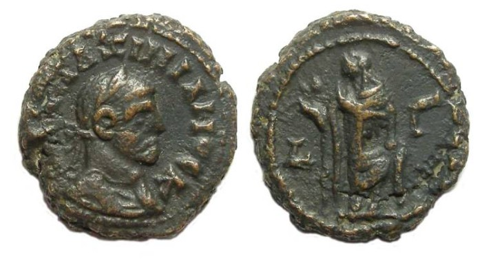 Ancient Coins - Alexandria, Galerius, AD 305 to 311, Yr-3 potin tetradrachm. 19 mm.