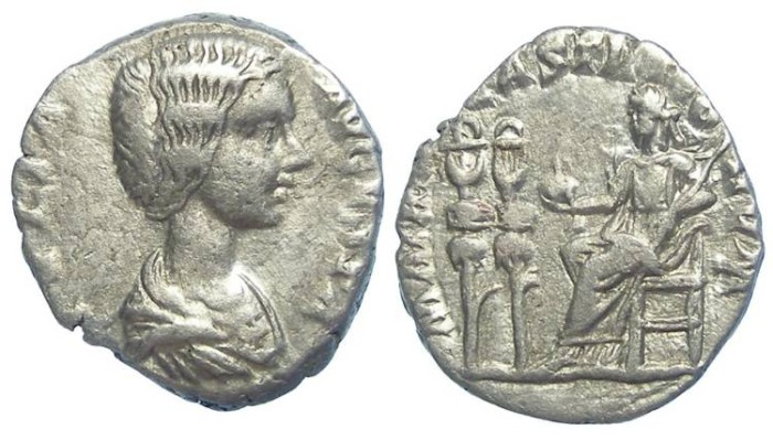 Ancient Coins - Julia Domna, AD 193 to 217. Silver denarius.  RARE ISSUE.