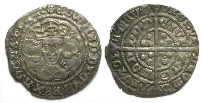 Ancient Coins - English, Edward IV first reign of AD 1461 to 1470. Silver groat.