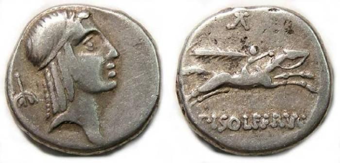 Ancient Coins - C. Calpurnius Piso L.f. Frugi. ca. 67 BC. Silver denarius.