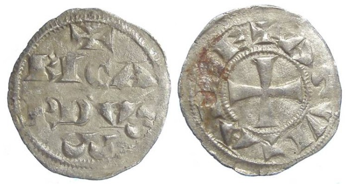 Ancient Coins - Anglo-Gallic. Richard the Lion Heart. Duke of Aquitaine. AD 1172 to 1189. Silver Denier. Rare variety with inverted A for the V.