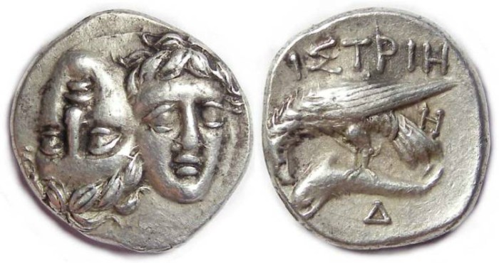 Ancient Coins - Thrace, Istros. Silver stater. ca. 400 to 350 BC.