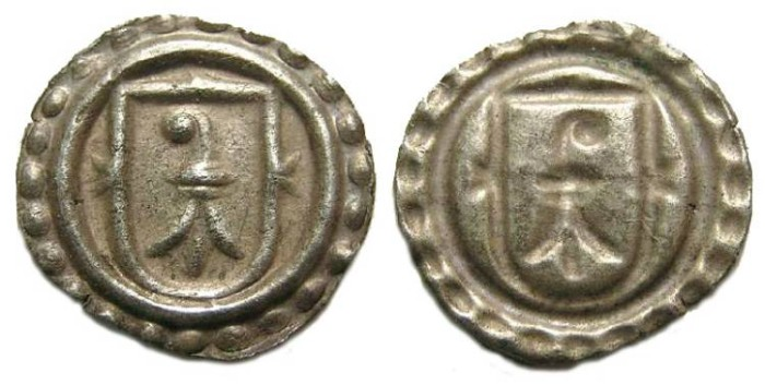 Ancient Coins - Swiss, City of Basel.  Silver Bracteate Rappen.  16th century.