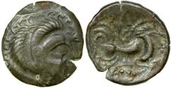 World Coins - Celtic Gaul. Armorican, Unelli. ca. 75 to 50 BC. Billon stater.