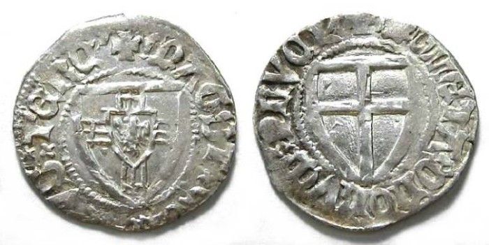 Ancient Coins - Germany, Teutonic order. Conrad v. Jungingen, 1393 to 1407. Silver Schilling.