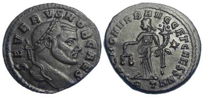 Ancient Coins - Severus II, as Caesar, AD 305-306. AE follis.