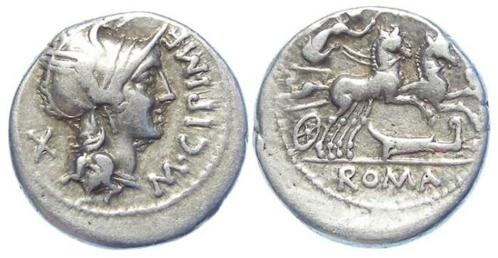 Ancient Coins - Roman Republic. M. Cipius. ca. 115 to 114 BC.  Silver denarius.