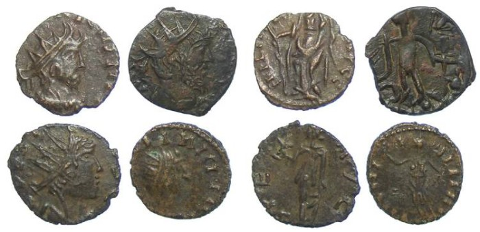 Ancient Coins - Lot of 4 coins. Barbarous Radiates of Tetricus I and II. ca. AD 270's.