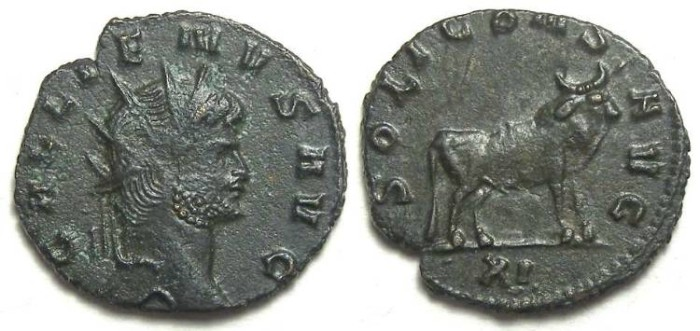 Ancient Coins - Gallienus, AD 253 to 268. Bronze Antoninianus.  Very scarce reverse type of the Bull.
