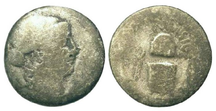 Ancient Coins - Roman Republic. T. Carisius. ca. 46 BC. Silver Denarius.  PROBABLY AN ANCIENT COUNTERFEIT.