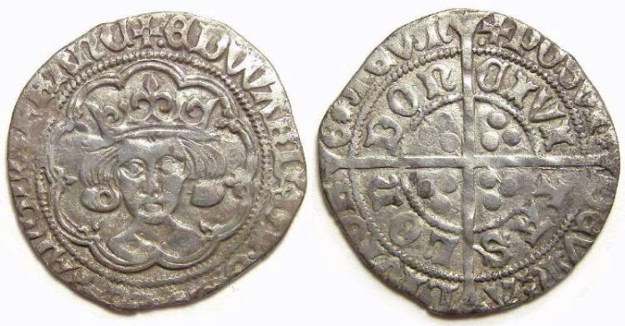 Ancient Coins - English, Edward IV, second reign of AD 1471 to 1483. Silver groat.