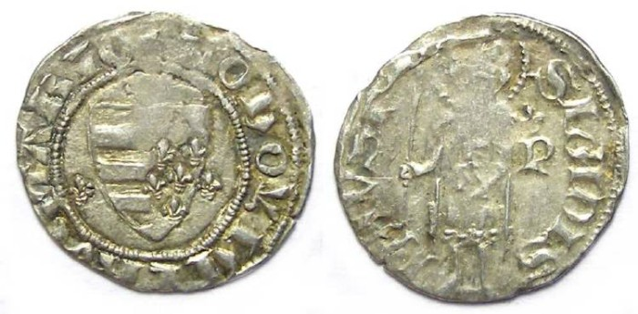 Ancient Coins - Hungary. Ludwig I, AD 1342 to 1382. Silver denier.