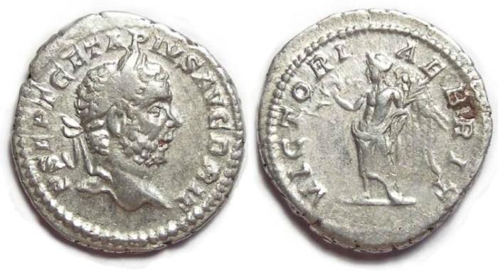 Ancient Coins - Geta, AD 198 to 209, Silver denarius. - VICTORIA BRIT reverse.