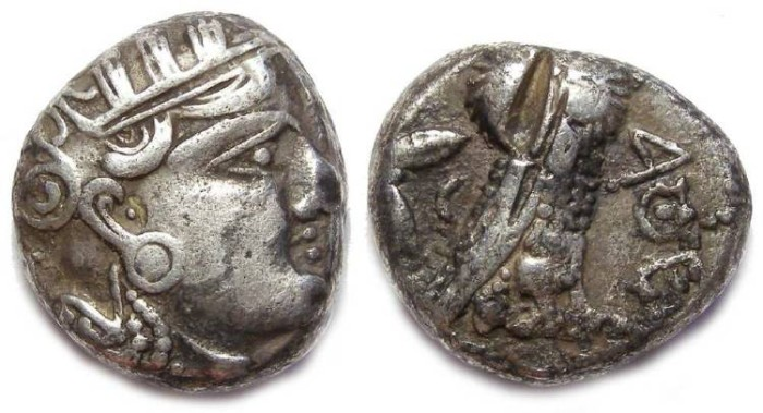 Ancient Coins - Eastern Imitation of an Athens style tetradrachm.  4th century BC.