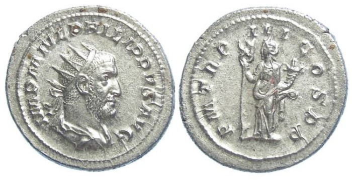 Ancient Coins - Philip I, AD 244-249. Silver antoninianus. NEAR PEFECT MEDALLIC STRIKE.