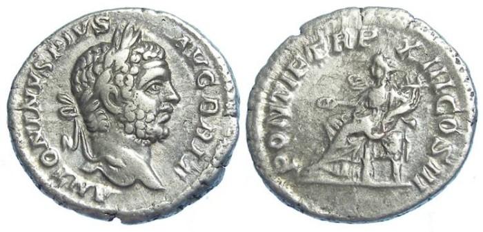 Ancient Coins - Caracalla, AD 193-217, Silver denarius.