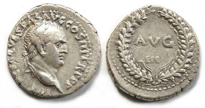 Ancient Coins - Vespasian, AD 69-79. Silver denarius.  Ephesos mint.