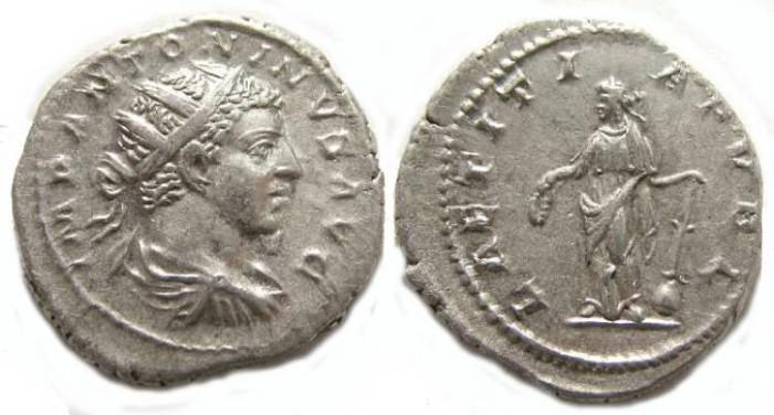 Ancient Coins - Elagabalus, AD 218 to 222. Silver Antoninianus.