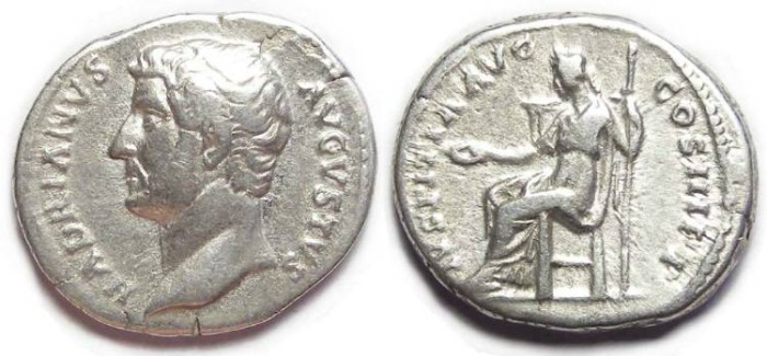 Ancient Coins - Hadrian, AD 117 to 138, Silver denarius.  HEAD LEFT.