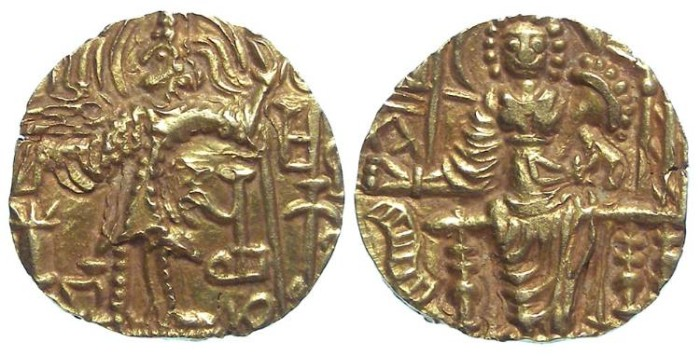 Ancient Coins - India. Kushan. Shaka. Gold stater. ca. 325 to 345 AD.