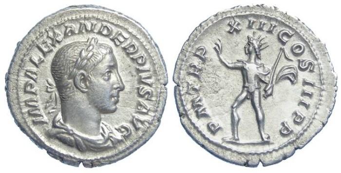 Ancient Coins - Severus Alexander. AD 222-235. Silver denarius.  BROAD MEDALLIC FLAN.