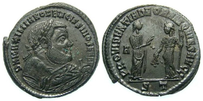Ancient Coins - Maximianus.  First abdication in AD 305.  Bronze follis.