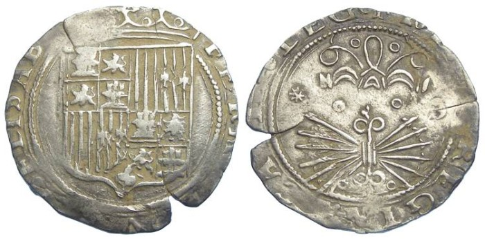 Ancient Coins - Spain, Kingdom of Castile, Ferdinand and Isabella, AD 1474 -1504, 1 real.